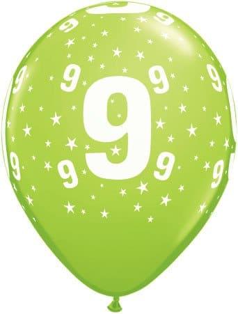Luftballon Zahl 9 hellgrün