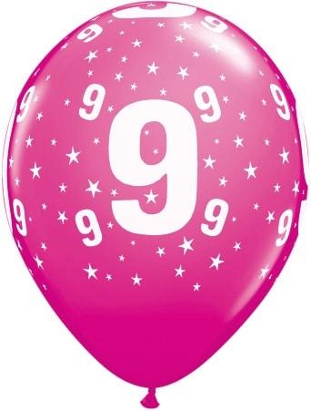 Luftballon Zahl 9 magenta
