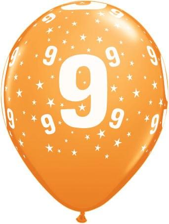 Luftballon Zahl 9 orange