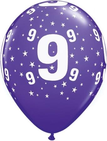 Luftballon Zahl 9 violett