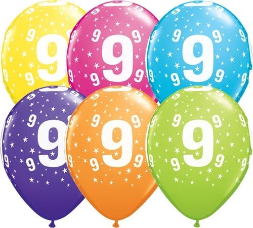 Helium Luftballon Zahl 9 zum 9. Geburtstag, 28 cm