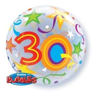 Ballon Zahl 30 Kunststoffballon Bubble