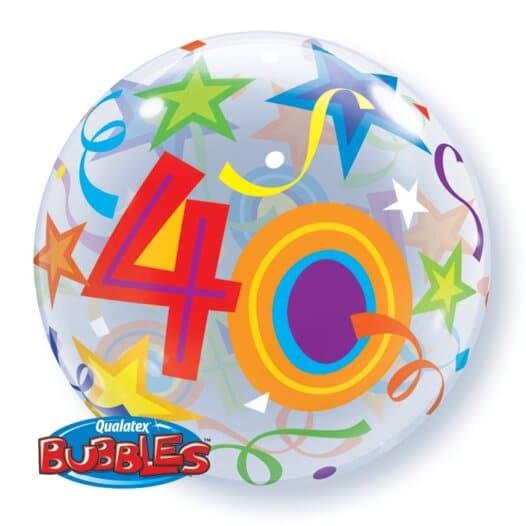 Ballon Zahl 40 Kunststoffballon Bubble