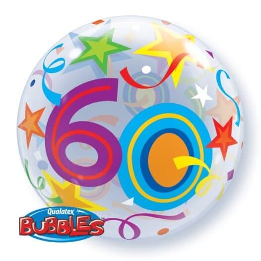 Ballon Zahl 60 Kunststoffballon Bubble