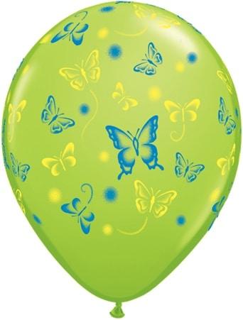 Luftballon mit Schmetterlingen hellgrün