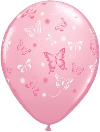 Luftballon mit Schmetterlingen pink