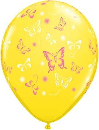 Luftballon mit Schmetterlingen gelb