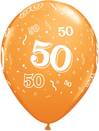 Helium Luftballon Zahl 50 zum 50. Geburtstag, 28 cm ...