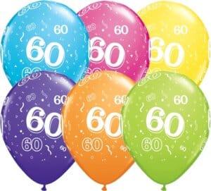 Helium Luftballon Zahl 60 Zum 60. Geburtstag, 28 Cm