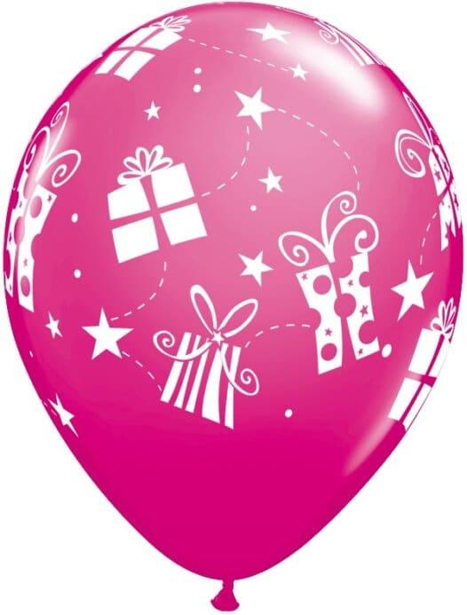 Luftballon Geschenke und Sterne magenta