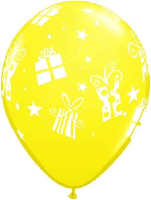 Luftballon Geschenke und Sterne gelb