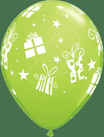 Luftballon Geschenke und Sterne hellgrün
