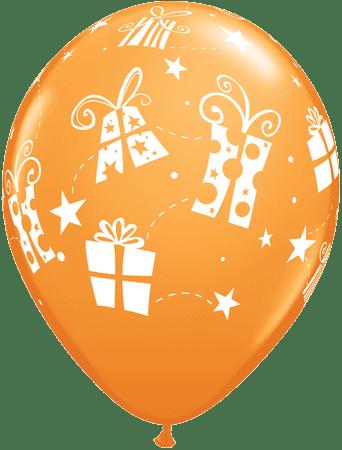 Luftballon Geschenke und Sterne orange