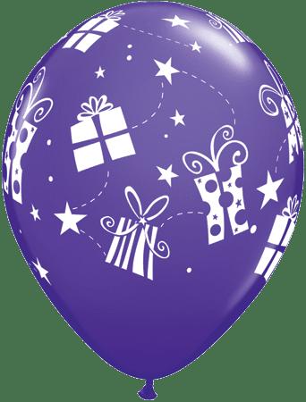 Luftballon Geschenke und Sterne violett