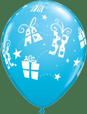 Luftballon Geschenke und Sterne hellblau