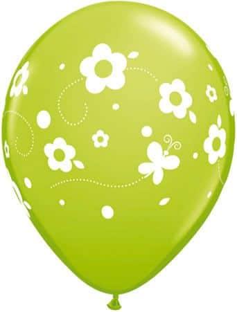 Luftballon Blumen und Schmetterlinge hellgrün