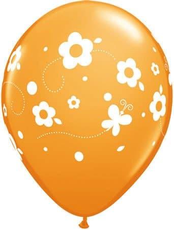 Luftballon Blumen und Schmetterlinge orange
