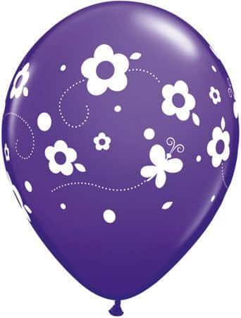 Luftballon Blumen und Schmetterlinge violett