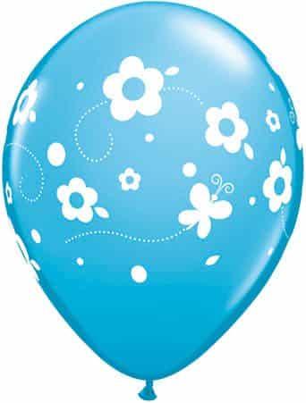 Luftballon Blumen und Schmetterlinge hellblau