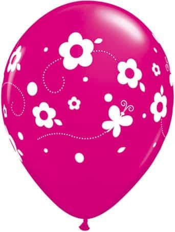 Luftballon Blumen und Schmetterlinge magenta