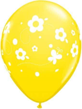 Luftballon Blumen und Schmetterlinge gelb