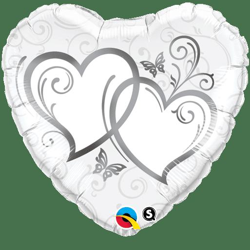 Herz Folienballon verschränkte Herzen silber