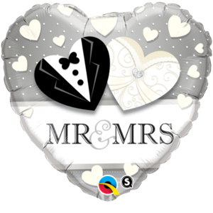 Herz Luftballon Mr+Mrs