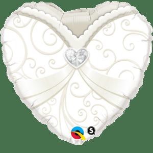 Herz Ballon Brautkleid 38 cm