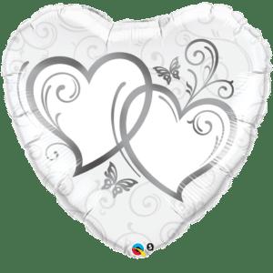 Herz Folienballon verschränkte Herzen silber 70 cm
