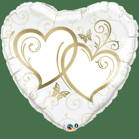 Herz Folienballon verschränkte Herzen gold 70 cm