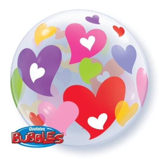 Luftballon mit bunten Herzen