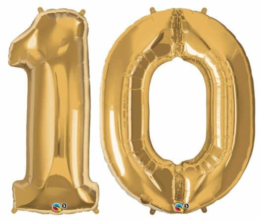 Riesen-Zahl 10 Jahre gold