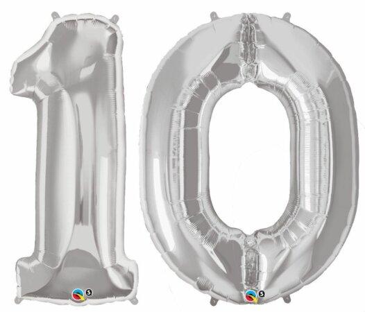 Riesen-Zahl 10 Jahre silber