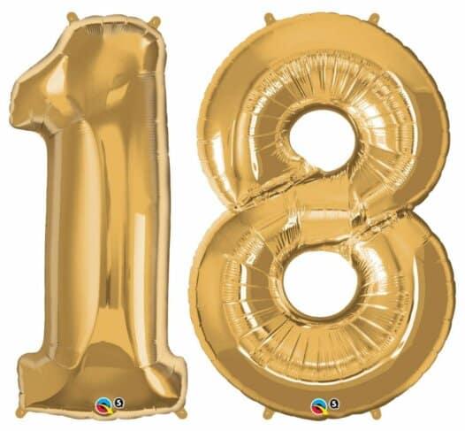 Riesen-Zahl 18 Jahre gold