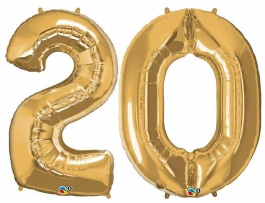 Riesen-Zahl 20 Jahre gold