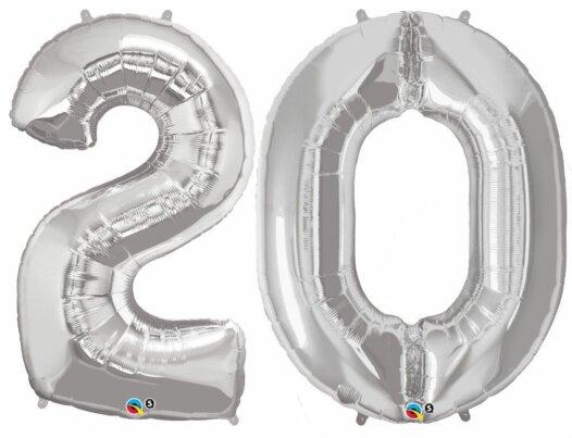 Riesen-Zahl 20 Jahre silber