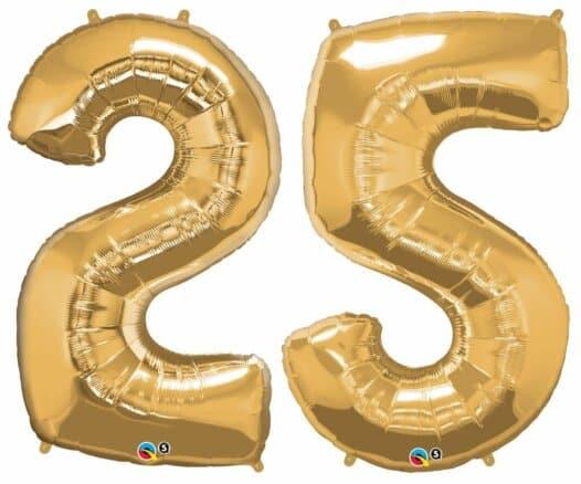 Riesen-Zahl 25 Jahre gold