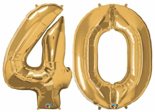 Riesen-Zahl 40 Jahre gold