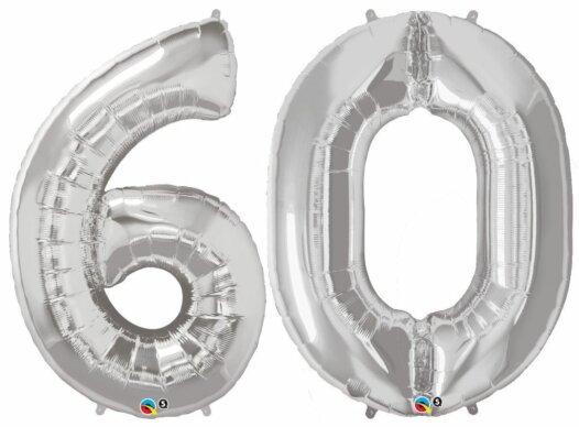 Riesen-Zahl 60 Jahre silber