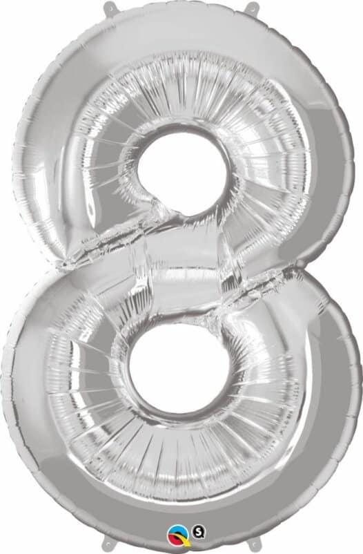 Riesen Zahl 8 Jahre silber