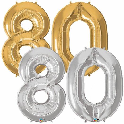 Riesen Zahl Zahlenballon 80 Jahre