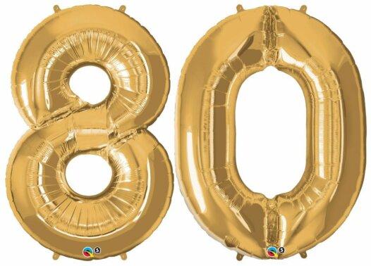 Riesen-Zahl 80 Jahre gold