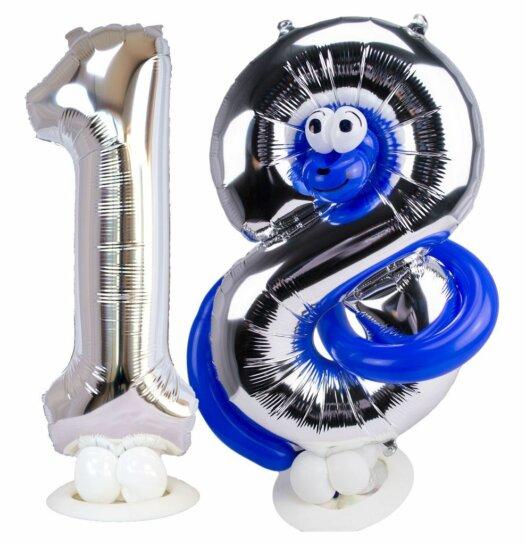 Zahl 18 mit blauer Schlange