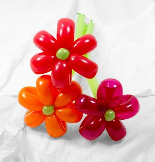 Blumenstrauss aus Luftballons 3 Blumen rot-orange online bestellen