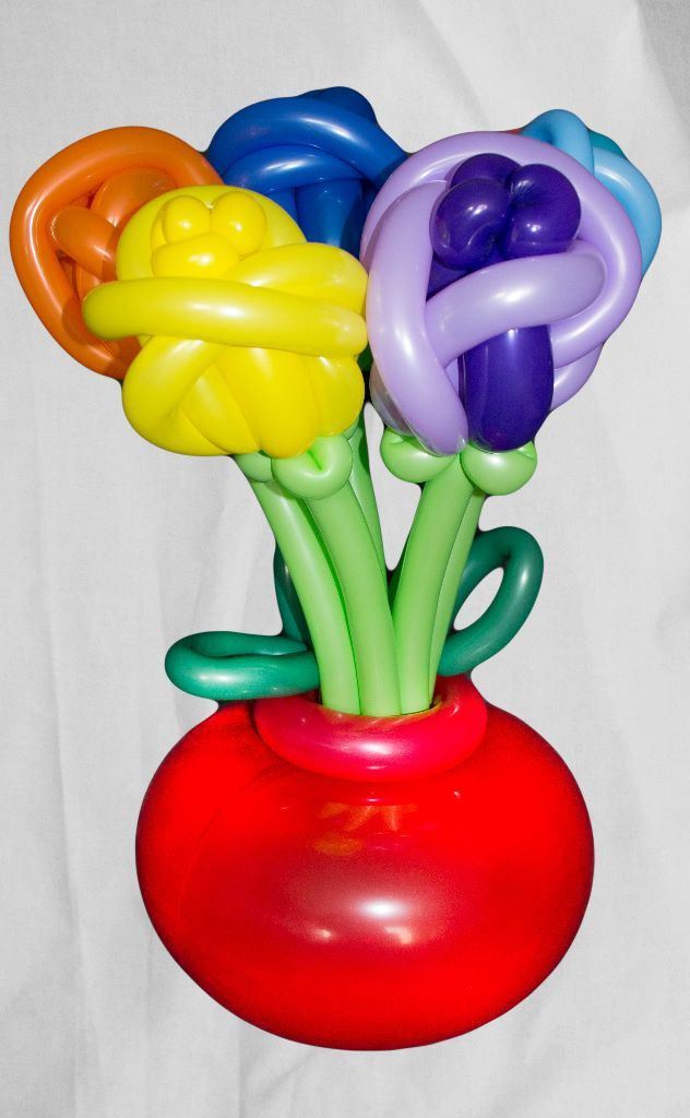 luftballon blumenstrauss in vase 7 blumen lufties ballons. Black Bedroom Furniture Sets. Home Design Ideas