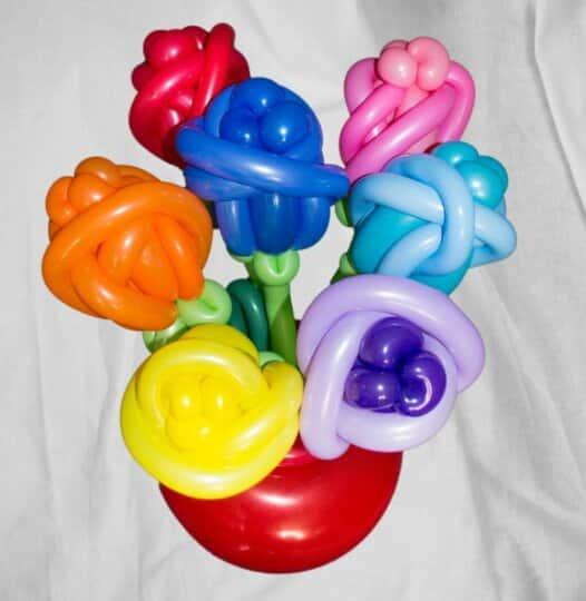 Blumenstrauss aus Luftballons in Vase 7 Blumen