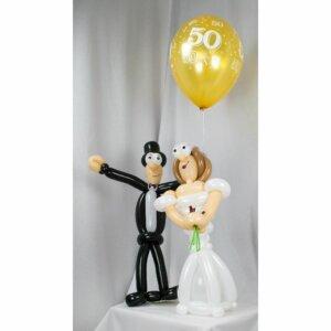Brautpaar aus Luftballons Goldene Hochzeit