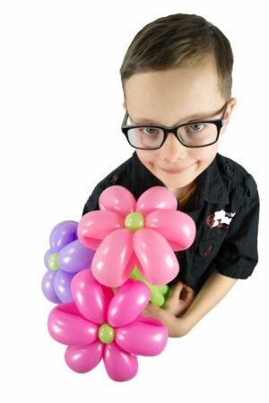 Blumenstrauss aus Luftballons 3 Blumen rosa-pink-flieder online bestellen