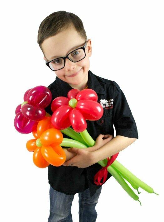 Blumenstrauss aus Luftballons mit 3 Blumen in rot-orange online bestellen