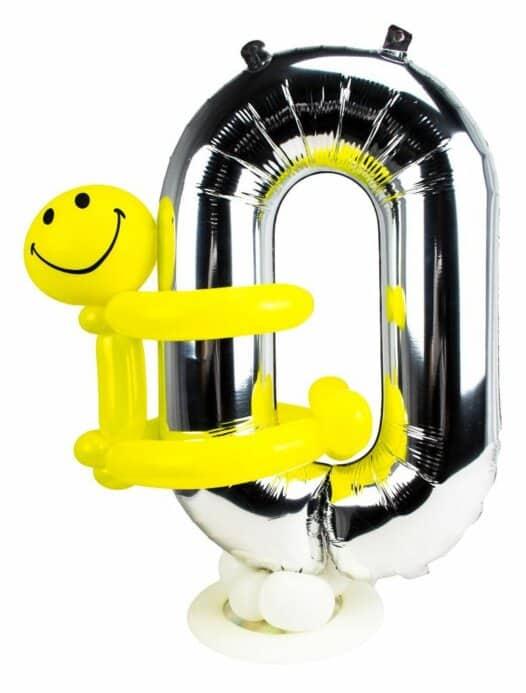 Zahl 0 zum Geburtstag Luftballon mit gelbem Männchen